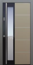 Haustür modern, TOPICcore, Beige, Grau, Edelstahllisenen, Sicherheitstür, passivhaustauglich, besser als Alu, Glas, Fingerprint