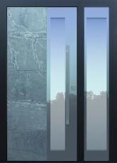 Haustüren modern, Himalayastein, anthrazit, mit Seitenteil, TOPICcore, Fingerprint, Sicherheitstür, passivhaustauglich, besser als Alu, Glas