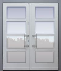 Haustür modern, TOPICcore, Weiß, zweiflügelig, Sicherheitstür, passivhaustauglich, besser als Alu, Glas, Seitenteil, Keypad
