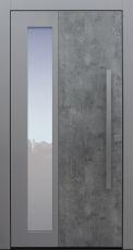 Haustür modern, Exterior, grau, Skyline, Sicherheitstür, passivhaustauglich, besser als Alu, Glas