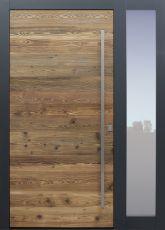 Haustür modern, Holz, Fichte, Altholz, Altholz Fichte, Sicherheitstür, passivhaustauglich, besser als Alu, Glas, Seitenteil