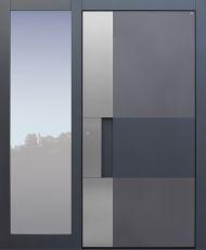 Haustür modern, TOPICcore, Anthrazit, Dunkelgrau Sicherheitstür, passivhaustauglich, besser als Alu, Glas, Seitenteil