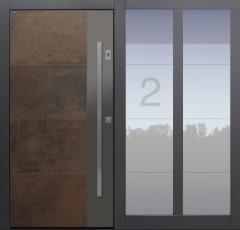 Haustür modern, TOPICcore, Keramik, Fingerprint, Hausnummer, braun, Sicherheitstür, passivhaustauglich, besser als Alu, Glas, Seitenteil