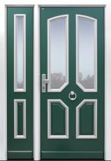 Haustür Landhaus klassisch rustikal, grün, Topiccore, Seitenteil, Sicherheitstür, passivhaustauglich, besser als alu, Glas