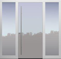 Haustür modern, TOPICcore, weiß, Glaslackierung, Sicherheitstür, passivhaustauglich, besser als Alu, Glas, Seitenteil
