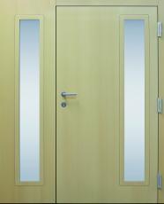 Haustür modern, Holz, Fichte, Innenansicht, Sicherheitstür, passivhaustauglich, besser als alu, Seitenteil, Glas