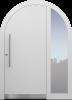 Haustür modern, weiß, TOPICcore, Rundbogen, Edelstahl, Sicherheitstür, passivhaustauglich, besser als Alu, Glas