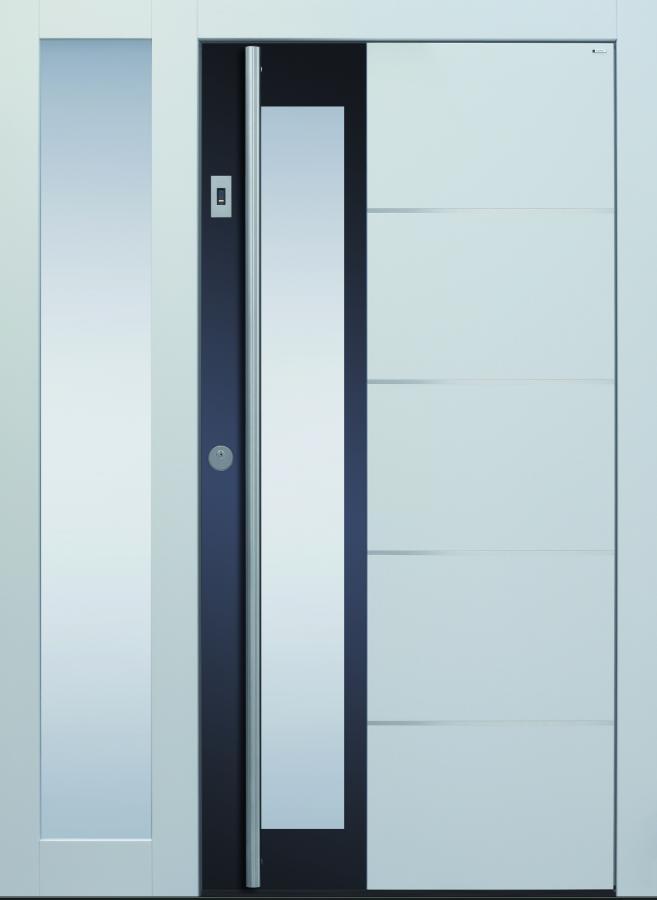 Haustür, weiß, modern, Topiccore, Seitenteil, Holz, Edelstahl, Sicherheitstür, passivhaustauglich, besser als Alu, Glas