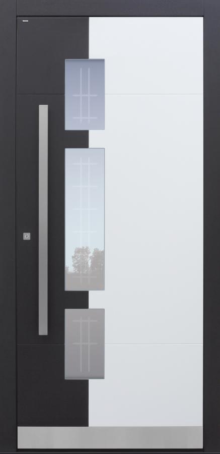 Haustür weiß mit Glasmotiv MR2 mit Option 2. Farbe Modell A250-T2