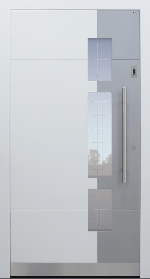 Haustür weiß mit Glasmotiv MR2 mit Option 2. Farbe mit Fingerprint Modell A250-T2