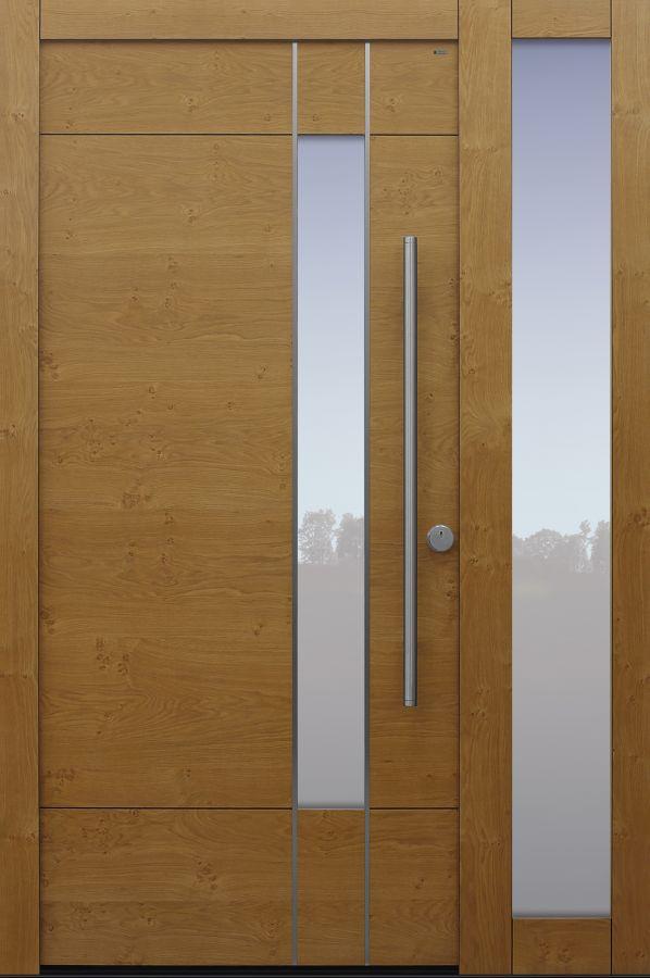 Haustür modern, Holz, Eiche, Seitenteil, Sicherheitstür, besser als alu, Glas