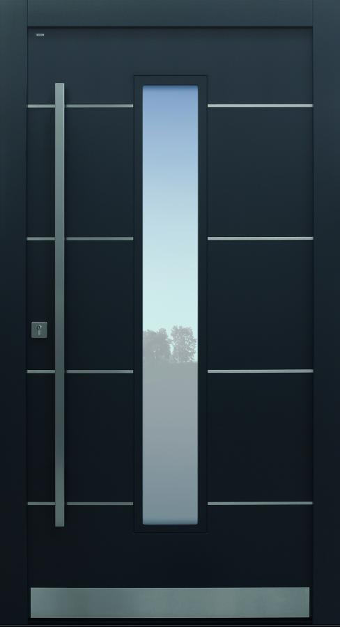 Haustür modern, Altholz, Eiche, anthrazit, TOPICcore, dunkelgrau, Edelstahllisenen, Sicherheitstür, passivhaustauglich, besser als Alu