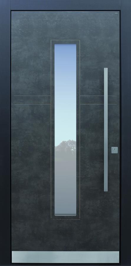 Haustür modern, Exterior, Prado Agate Grey, Sicherheitstür, passivhaustauglich, besser als Alu, Glas