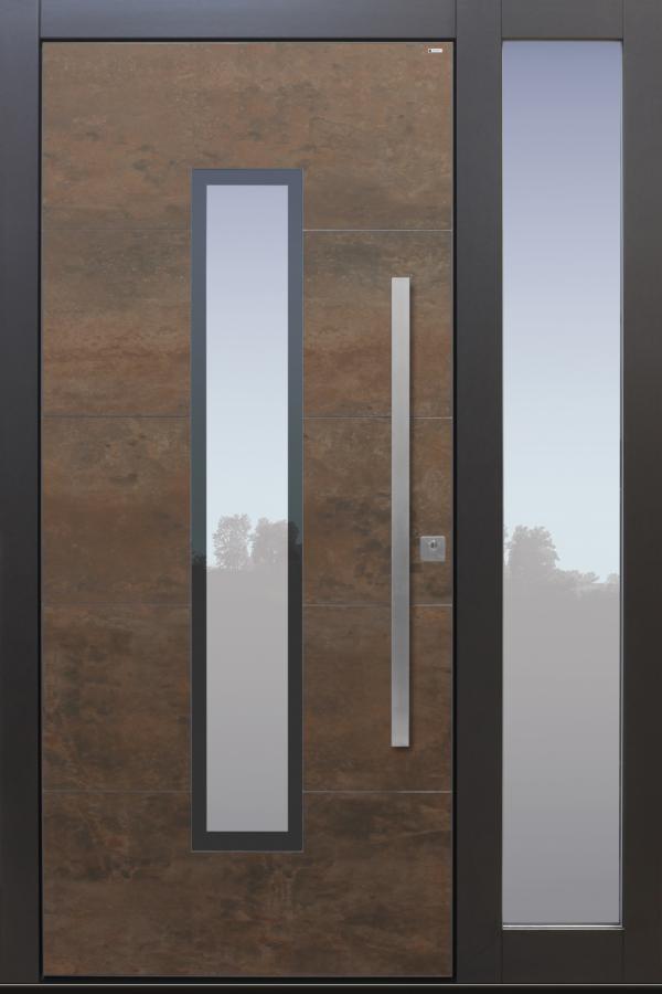 Haustür Cor-Ten bronze anthrazit Keramik Sicherheitstür passivhaustauglich Seitenteil Glas Lichtausschnitt