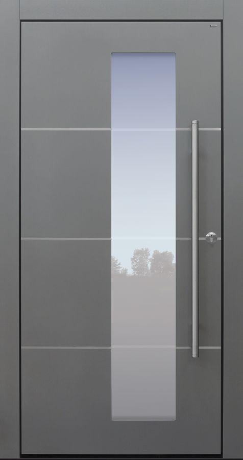 Haustür modern, TOPICcore, hellgrau, Edelstahllisenen, Sicherheitstür, passivhaustauglich, besser als Alu, Glas