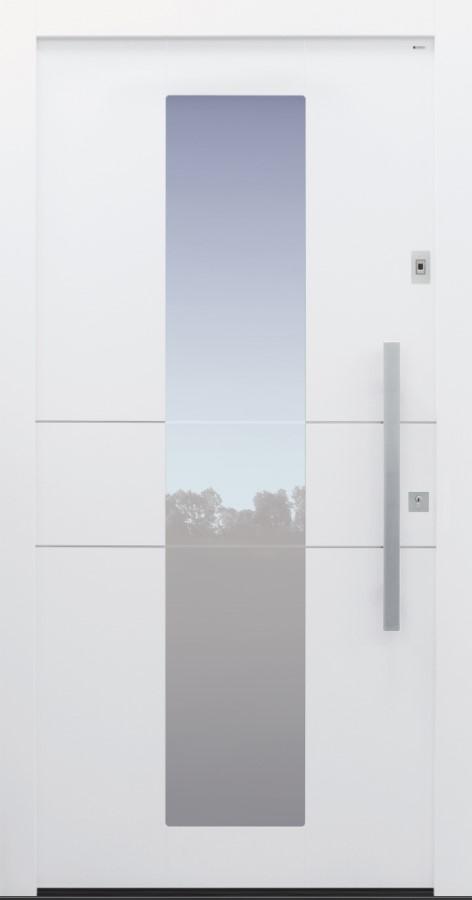 Haustür weiß mit Edelstahllisenen und Glasmotiv MS4 auf Kundenwunsch mit Fingerprint Modell B11-T