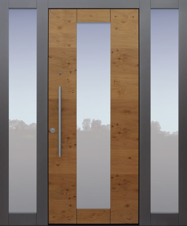 Haustür modern, Holz, Eiche astig, Sicherheitstür, passivhaustauglich, besser als Alu, Glas, Seitenteil, Spion