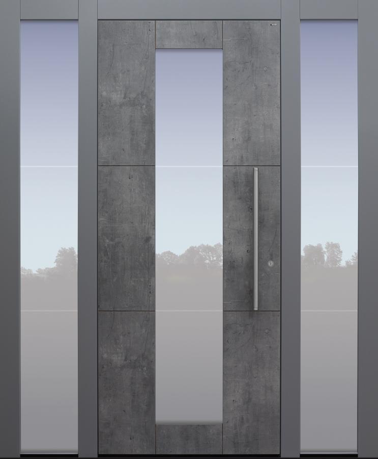 Haustür Exterior Skyline mit Glasmotiv MS4 mit Spurfräsungen auf Kundenwunsch mit Option Designpaket mit 2 Seitenteilen B1 Modell B11-T1