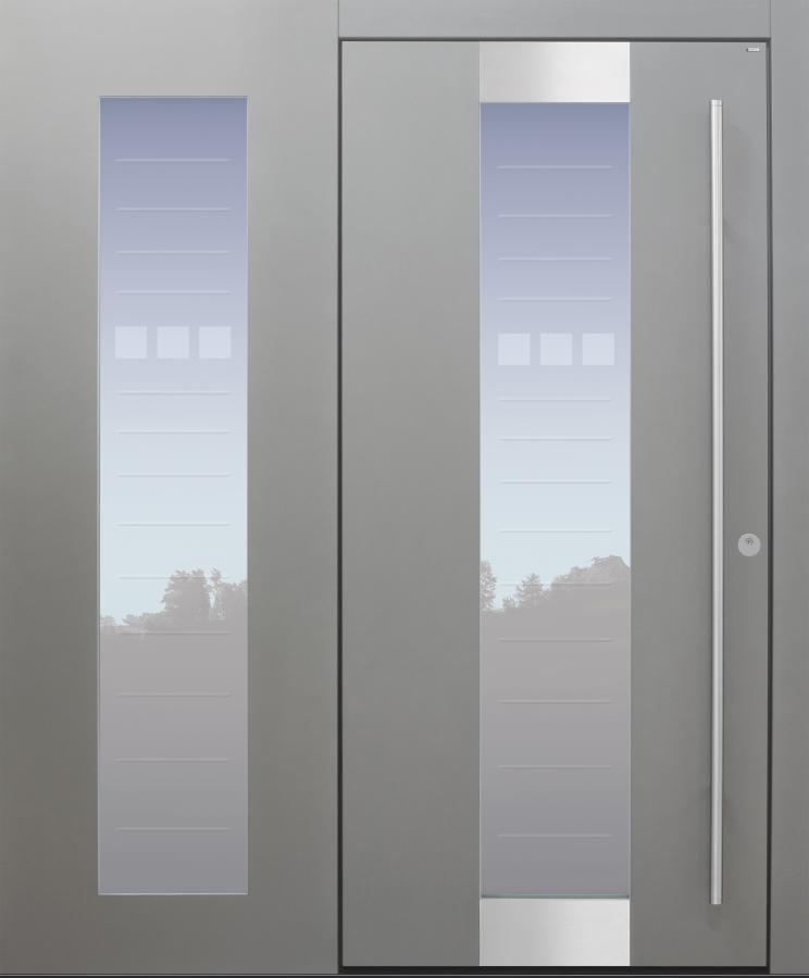 Haustür modern, grau, TOPICcore, Seitenteil, Edelstahl, Sicherheitstür, passivhaustauglich, besser als Alu, Glas, Glasmotiv