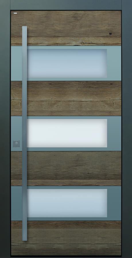 Haustür modern anthrazit, Holz, Altholz, Eiche, über 300 Jahre, Sicherheitstür, passivhaustauglich, TOPICcore, besser als alu, Edelstahl, Glas