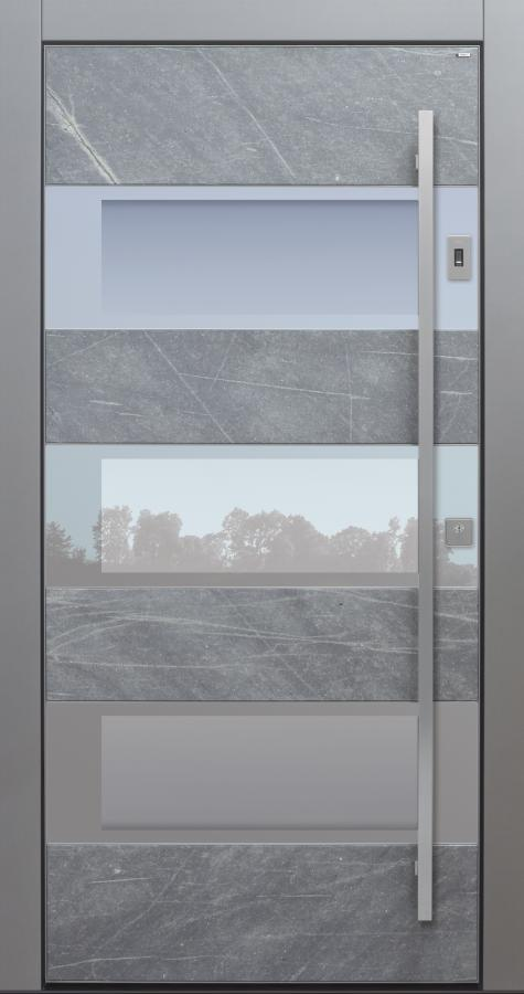 Haustür modern, grau, Himalayastein, Fingerprint, Sicherheitstür, passivhaustauglich, TOPICcore, besser als Alu, Glas