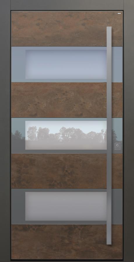 Haustür Cor-Ten bronze grau Keramik Sicherheitstür passivhaustauglich Seitenteil Glas Lichtausschnitt