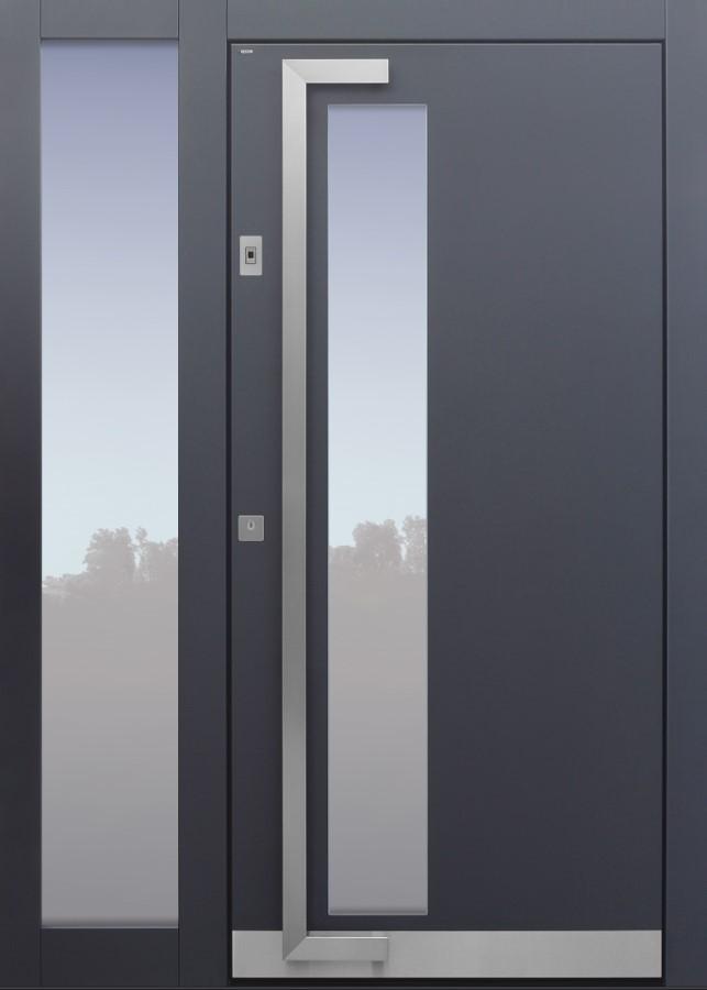 Haustür modern, TOPICcore, Anthrazit, Dunkelgrau Sicherheitstür, passivhaustauglich, besser als Alu, Glas, Seitenteil, Fingerprint