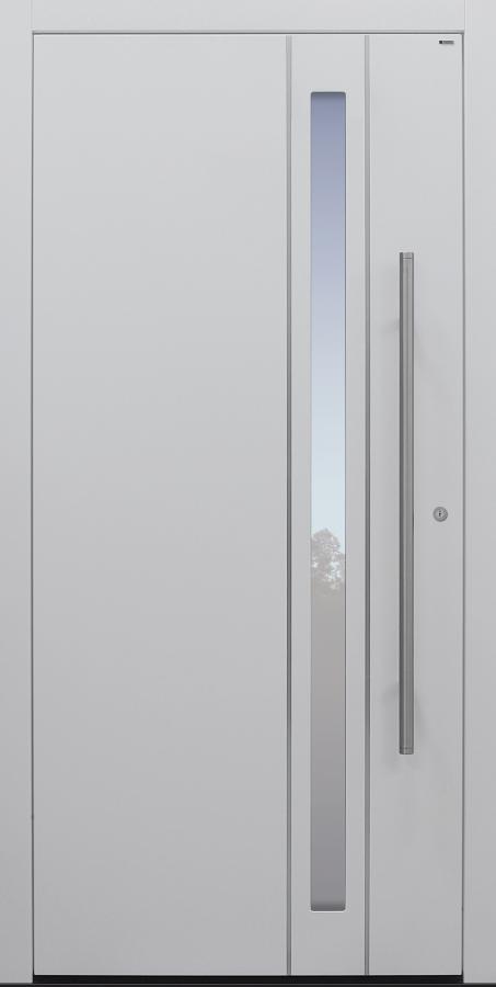 Haustür weiß mit Edelstahllisenen auf Kundenwunsch mit Option Designpaket Modell B24-T1