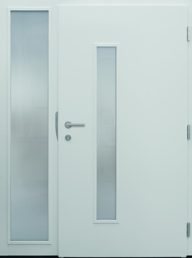 Haustür modern, TOPICcore, weiß, Innenansicht, Sicherheitstür, passivhaustauglich, besser als Alu, Glas, Seitenteil