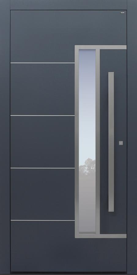 Haustür anthrazit mit Edelstahlrahmen und -lisenen auf Kundenwunsch mit Option Designpaket Modell B33-T1