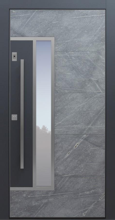 Haustür modern, Himalayastein, grau, Sicherheitstür, passivhaustauglich, besser als Alu, Glas, Fingerprint