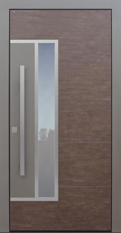 Haustür modern, braun, Keramik, grau, TOPICcore, Sicherheitstür, passivhaustauglich, besser als Alu, Glas