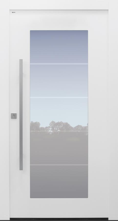 Haustür modern, weiß, TOPICcore, Glasmotiv, Sicherheitstür, besser als Alu, Glas