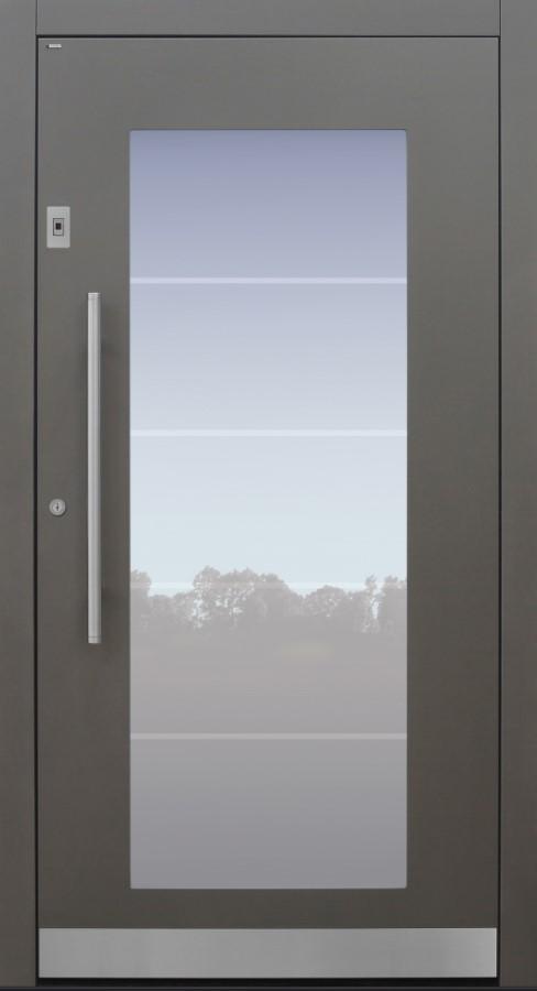 Haustür grau mit Glasmotiv MS4 mit Option Rosette flächenbündig mit Fingerprint Modell B34-T1