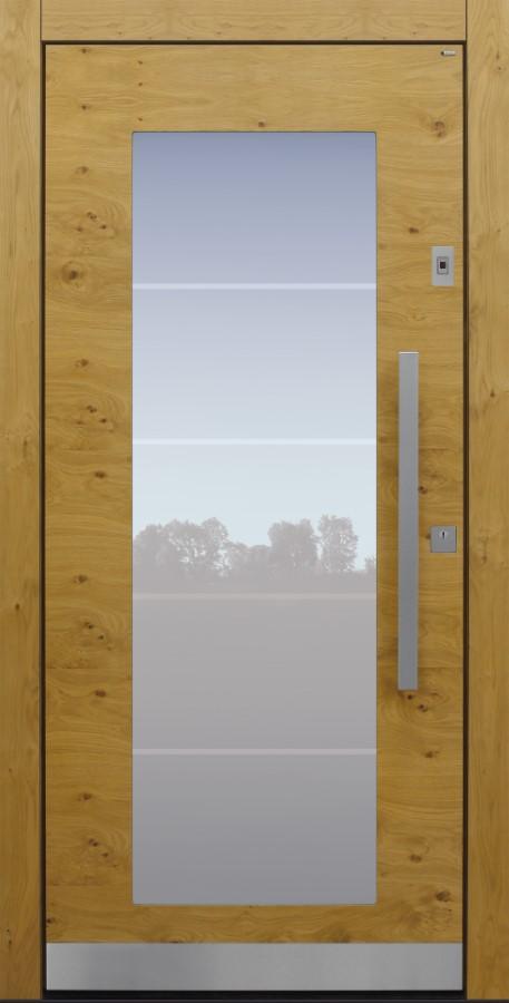 Haustür modern, Holz, Eiche, astig, Fingerprint, Sicherheitstür, passivhaustauglich, besser als Alu, Glas, Glasmotiv