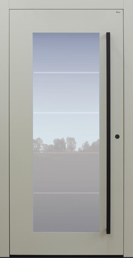 Haustür weiß mit Glasmotiv MS4 mit Stoßgriff schwarz Modell B34-T2