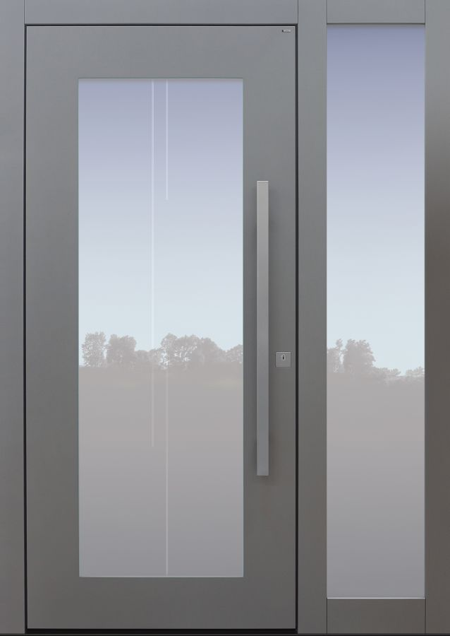 Haustür modern, TOPICcore, hellgrau, Sicherheitstür, passivhaustauglich, besser als Alu, Glas, Seitenteil