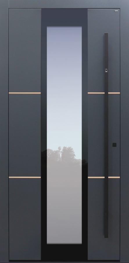 Haustür anthrazit mit Fingerprint mit Option Lisenen Bronze poliert Modell B35-T2
