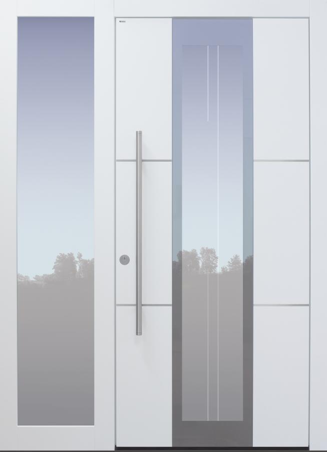 Haustür modern, weiß, silber, TOPICcore, Edelstahllinien, Glasmotiv, Seitenteil, Sicherheitstür, passivhaustauglich, besser als Alu, Glas