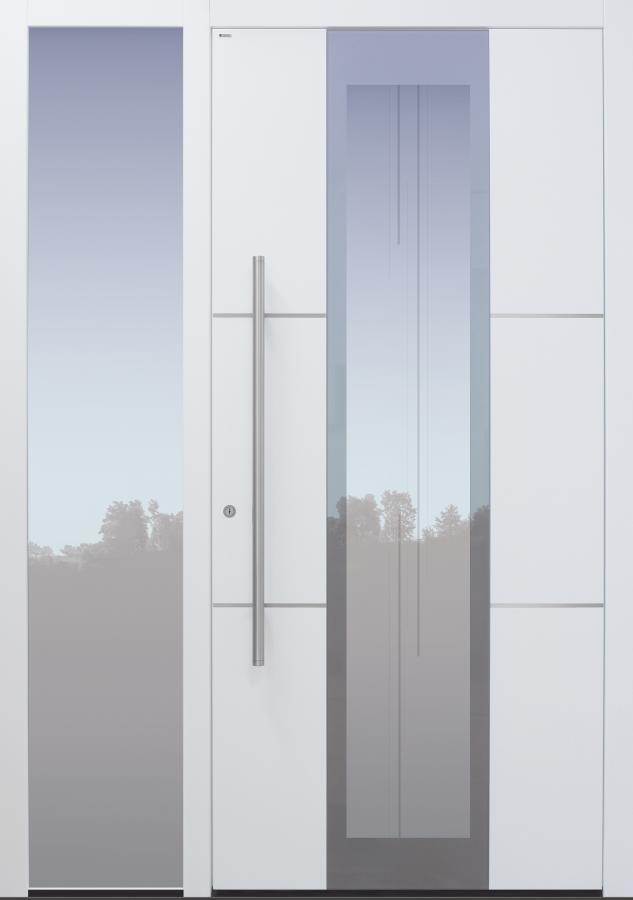 Haustür weiß mit Glasmotiv MS7 mit Seitenteil B1 Modell B35-T2