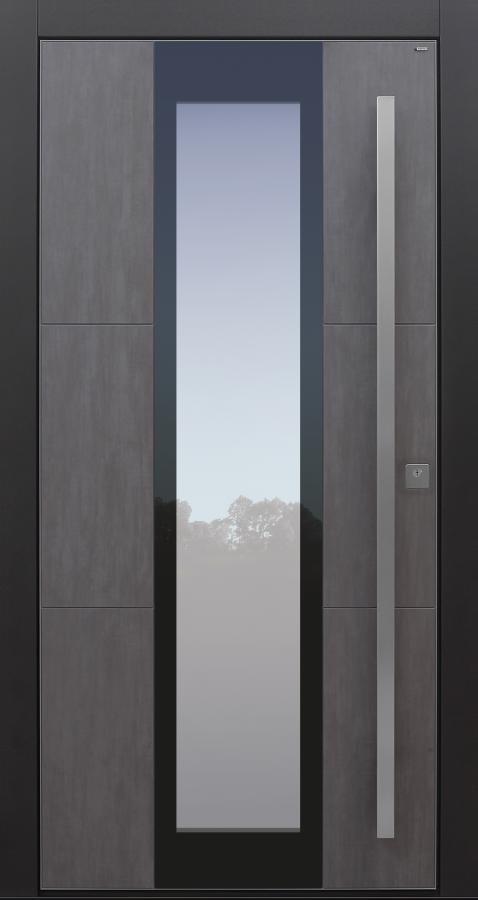 Haustür modern, TOPICcore, anthrazit, dunkelgrau, Keramik, Sicherheitstür, passivhaustauglich, besser als Alu, Glas