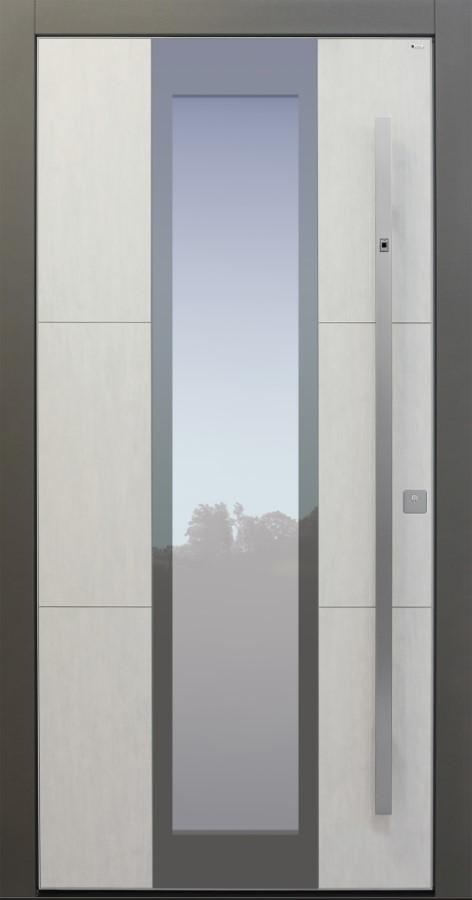 Haustür modern, Koshi grau, Keramik, TOPICcore, Fingerprint, Sicherheitstür, passivhaustauglich, besser als Alu, Glas