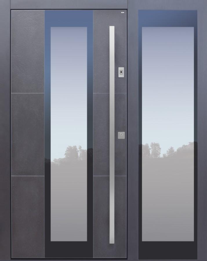 Haustür modern, anthrazit, Keramik, TOPICcore, Seitenteil, Sicherheitstür, passivhaustauglich, besser als Alu, Glas