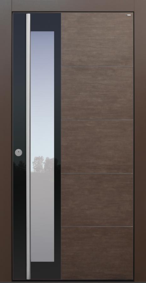 Haustür, modern, braun, Lamiera, Topiccore, Keramik, Edelstahl, Sicherheitstür, passivhaustauglich, besser als Alu, Glas