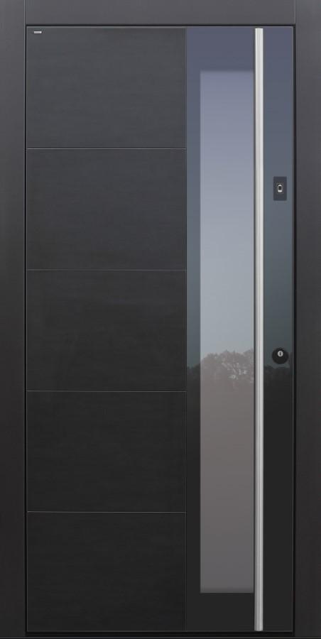 Haustür modern, Keramik, Koshi nero, anthrazit, dunkelgrau, Sicherheitstür, passivhaustauglich, besser als Alu, Glas, Fingerprint