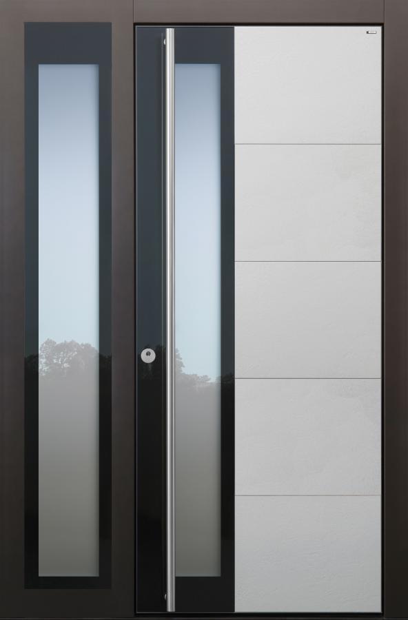 Haustür hellgrau grau dunkelgrau Keramik Sicherheitstür passivhaustauglich Glas Lichtausschnitt Seitenteil