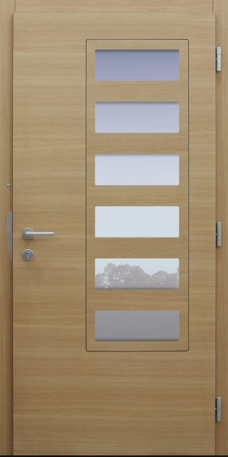 Haustür modern, Holz, Eiche, Sicherheitstür, passivhaustauglich, besser als Alu, Glas
