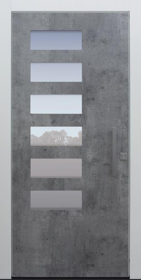 Haustür modern, grau, weiß, Exterior, Topiccore, Sicherheitstür, passivhaustauglich, besser als Alu, Glas