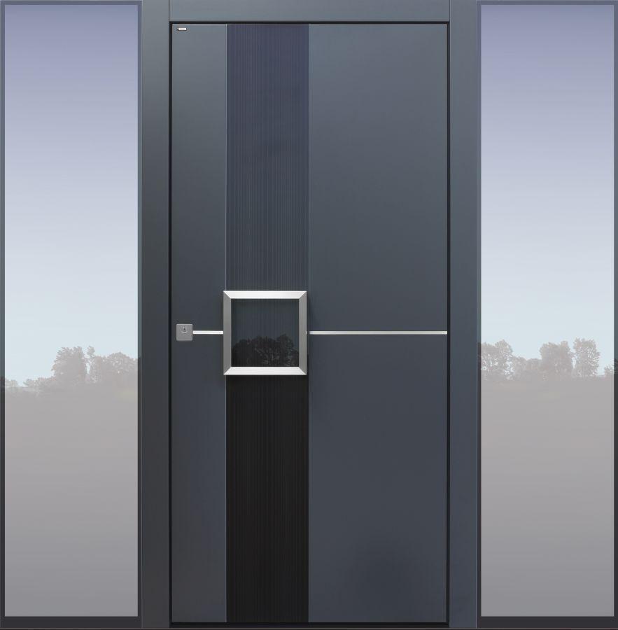Haustür modern, TOPICcore, Dunkelgrau, Anthrazit, Sicherheitstür, passivhaustauglich, besser als Alu, Glas, Seitenteil