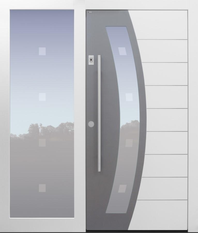 Haustür modern, weiß, TOPICcore, Seitenteil, Sicherheitstür, passivhaustauglich, besser als Alu, Glas, Glasmotiv